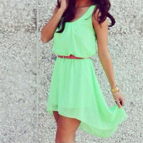 dress green summer clothes mint belt gold