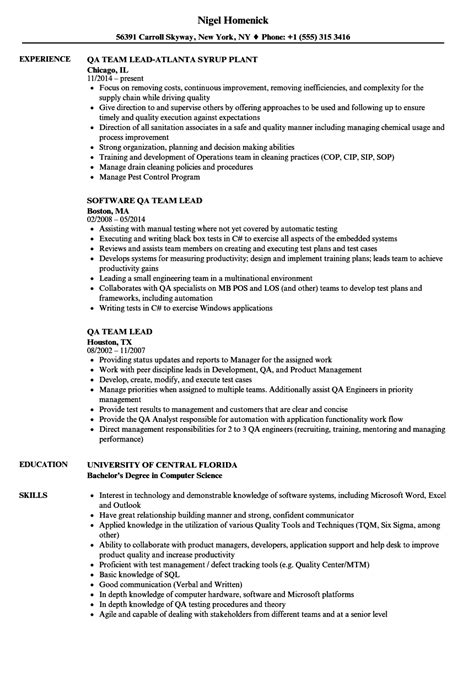 Qa Lead Resume by Qa Team Lead Resume Sles Velvet