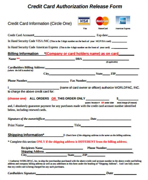Credit Check Form Sle Sle Credit Release Form 6 Exles In Word Pdf