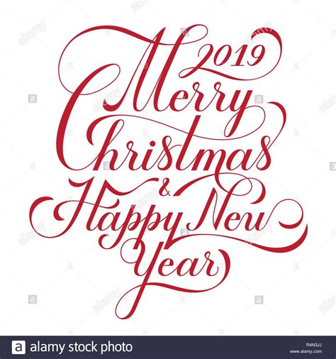 merry christmas  happy  year text calligraphic lettering design card template creative