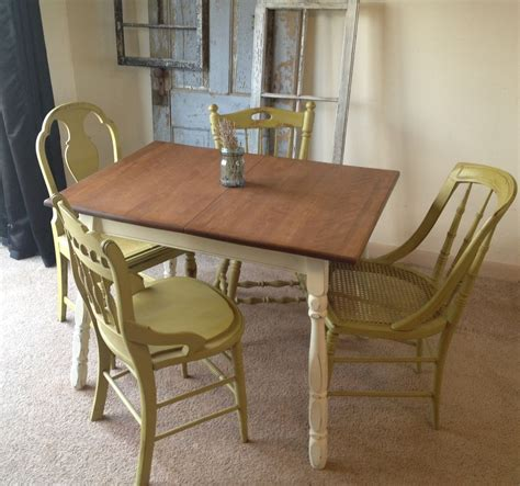 hand crafted vintage small kitchen table with four miss