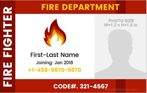 firefighter id cards template department photo id badge templates formal word