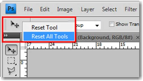 reset tool on photoshop adobe photoshop resetting defaults on the options bar