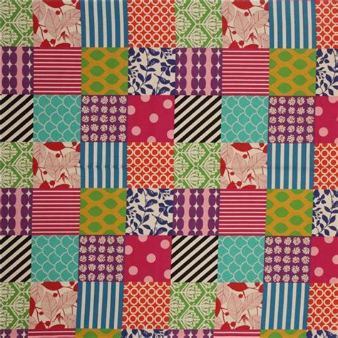 Patchwork Material - patchwork echino canvas fabric blue purple pink