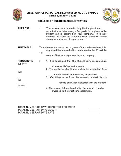 Sle Evaluation Letter For Ojt Ojt Evaluation