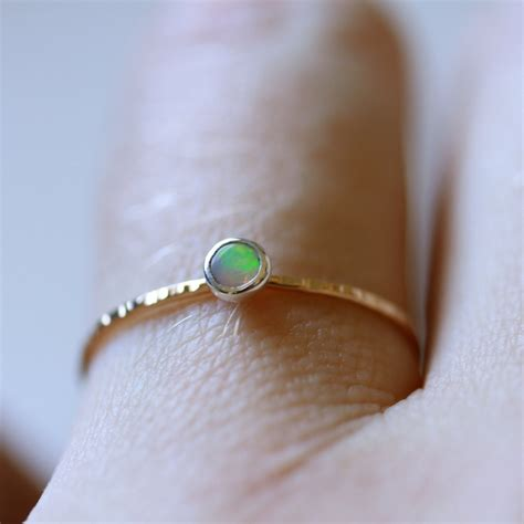 gold and silver opal orbital ring simple beautiful stack