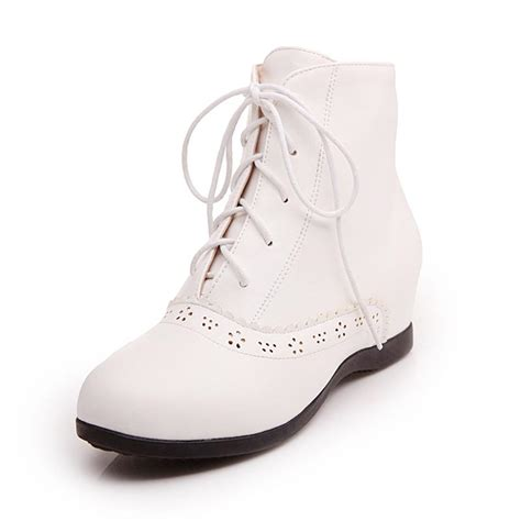 Cutie Bootie Shoes White womens shoes of korean white lace up ankle boots plus