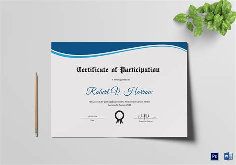 netball certificate template netball participation certificate design template in psd word