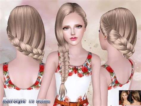 sims 3 braid hair side fishtail hair 179 by skysims sims 3 downloads cc