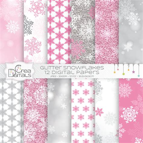 pink glitter and bokeh snowflakes 12 digital papers