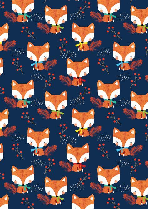 watercolor fox pattern alex willmore alternative version of autumn fox pattern