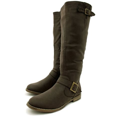 womens flat biker boots womens coffee flat leather style knee high buckled biker
