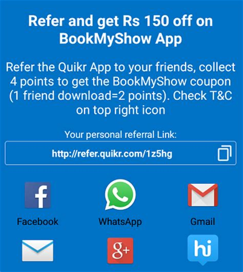bookmyshow coupons quikr app download offer rs 150 free bookmyshow voucher