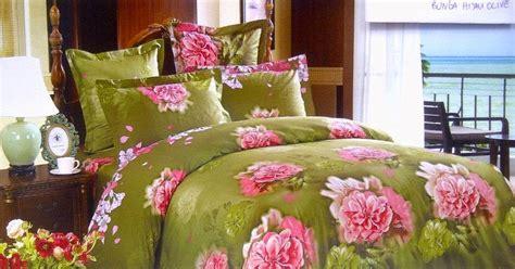 Sprei Katun Jepang 160x200 Motif Hijau sprei jepang motif bunga hijau olive sprei lovina grosir sprei murah bedcover cantik sprei anak