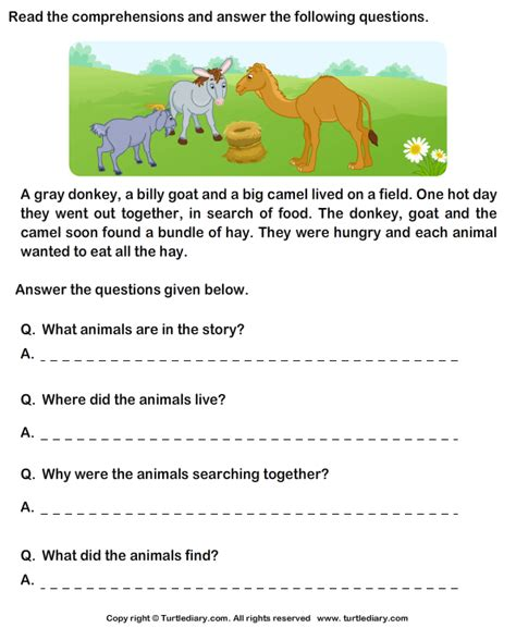 Free Comprehension Worksheets For Grade 2 by Worksheets Picture Comprehension For Grade 2 Opossumsoft
