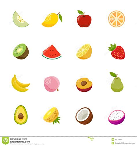 a z fruits only fruit icon flat colors design stock vector
