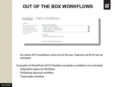 sharepoint out of the box workflows sharepoint 2013 workflow from k2