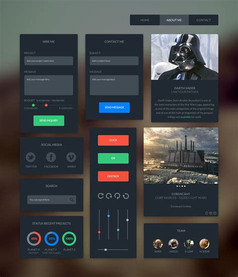 dark pattern ui 20 awesome free flat psd ui kits for designers