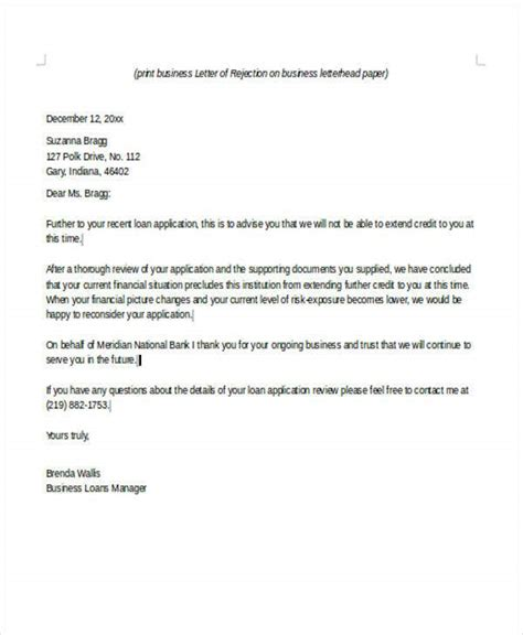 application rejection letters ms word pages
