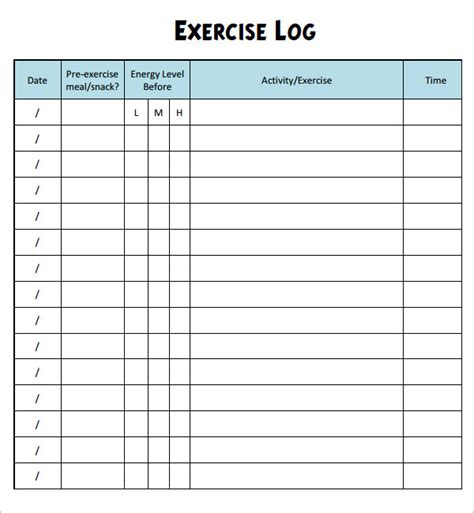 8 Sle Free Exercise Log Templates Sle Templates Fitness Tracker Template