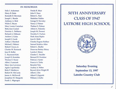 class reunion program template 50th class reunion program exles pictures to pin on