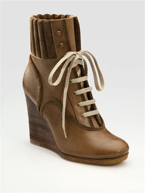 Lace Up Wedge Ankle Boots chlo 233 lace up wedge ankle boots in brown taupe lyst