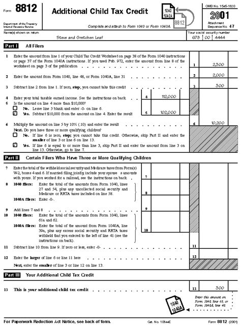 Form 8812 Worksheet by Pictures Irs Child Tax Credit Worksheet Getadating