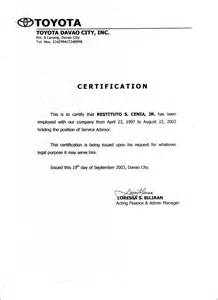 certification of employment template employment certificate sle best templates
