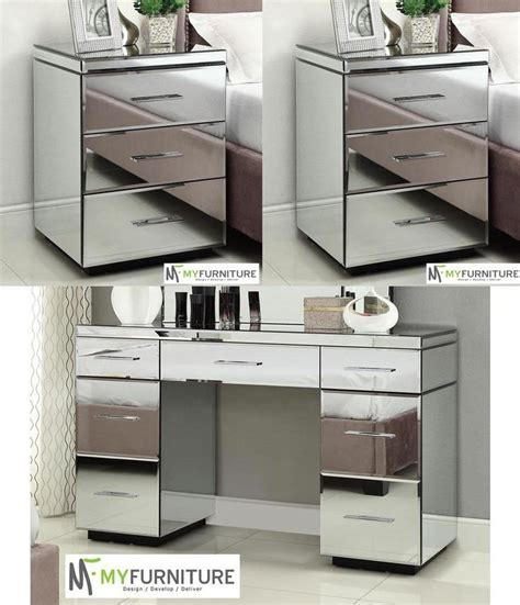 Mirrored Dressing Vanity by 2 X Mirrored Bedside Tables 7 Drawer Mirrored