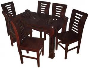 Dining Table Set Dhaka Modern Dining Table Set 6 Chairs Koroi Wood 10mm Glass