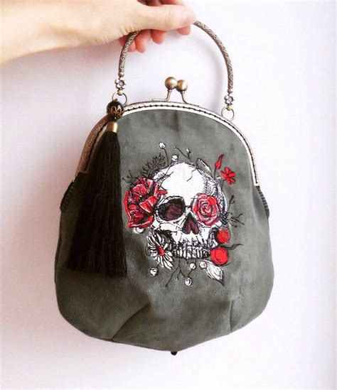 embroidered bag skull with flowers embroidered bag