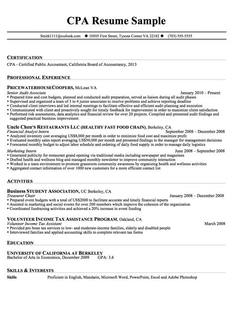 accounting resumes sles 28 images cpa resume sles 28