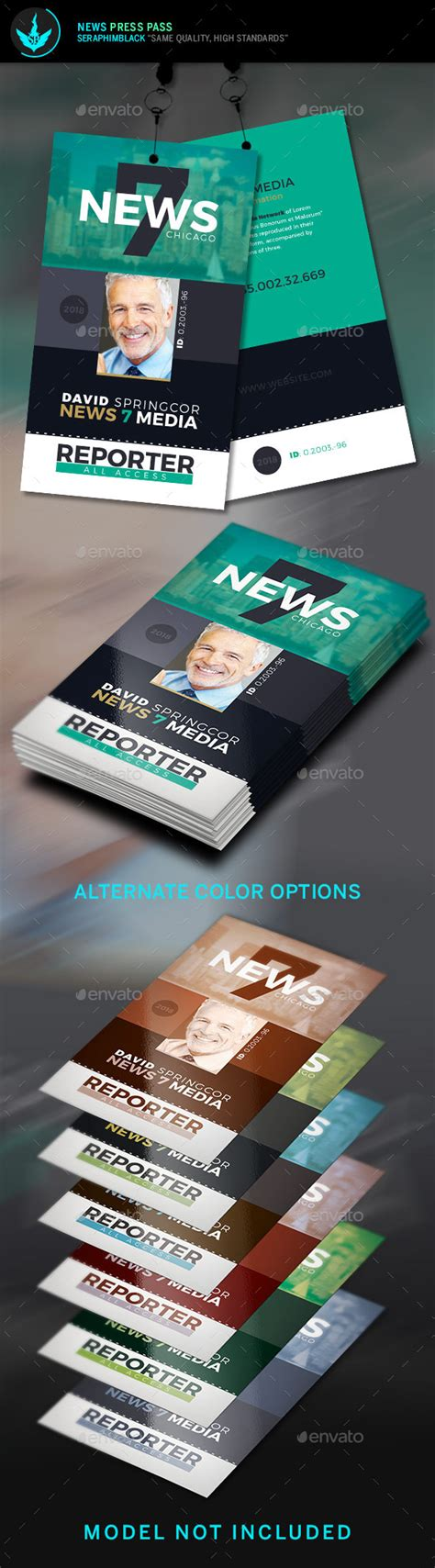 Press Pass Template By Seraphimblack Graphicriver Media Pass Template Photoshop