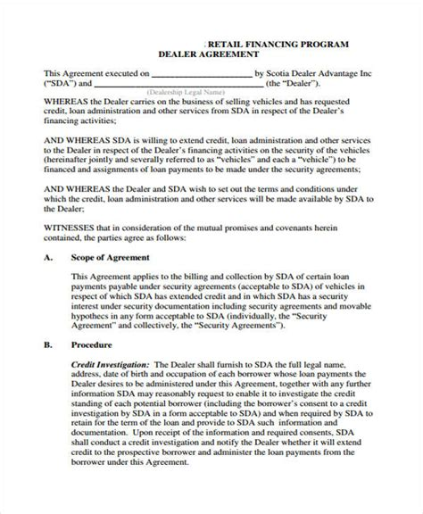 Agreement Letter For Dealership Loan Agreement Form Template