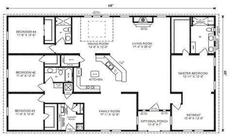Small 4 Bedroom Floor Plans by Bedroom Bath House Plans Under Square Feet With Small 4