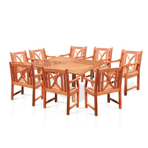Vifah V1131set14 Wood Square Table And Wood Armchair Wood Patio Dining Table