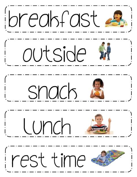 printable daily schedule for kindergarten printable preschool daily schedule cards quotes