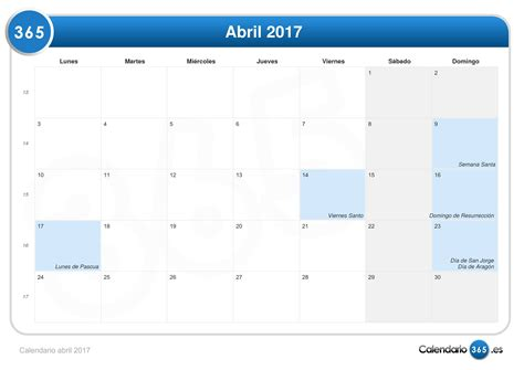 Calendario Semana Santa 2017 Calendario Abril 2017