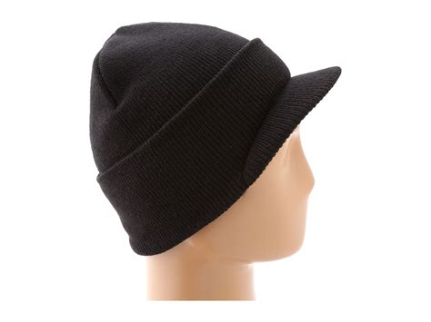black knit hat carhartt knit hat with visor in black for lyst