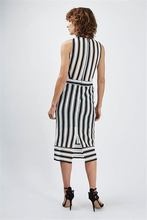 Dress Stripes airtex striped midi dress topshop