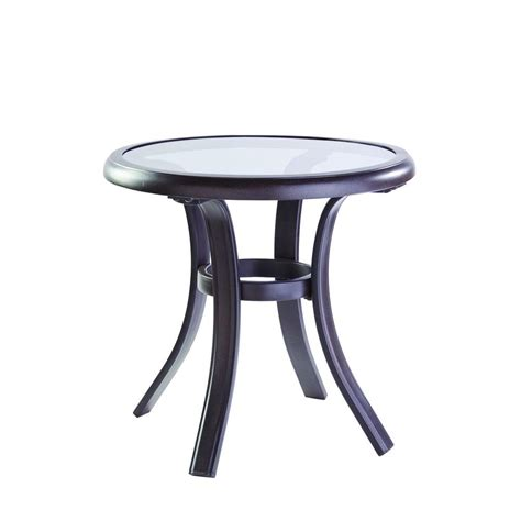 glass top outdoor side table hton bay statesville patio side table fts70513a the