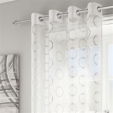 White And Silver Curtains White Silver Circles Curtain Panel Tonys Textiles