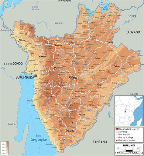 africa map burundi tours safaris africa the physical map of burundi
