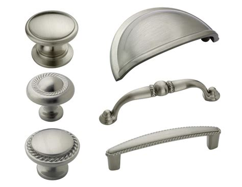 Cabinet Knobs And Drawer Pulls by Amerock Satin Nickel Rope Cabinet Hardware Knobs Pulls