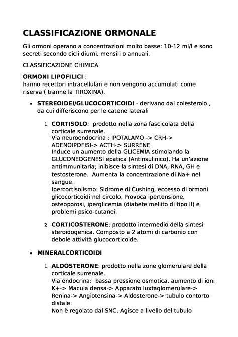 test di fisiologia fisiologia classificazione degli ormoni dei test medicina