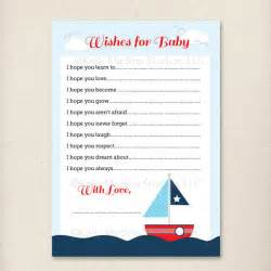 Nautical Themed Wedding Shower - items similar to nautical sailboat baby shower games wishes for baby 5 x 7 printable digital