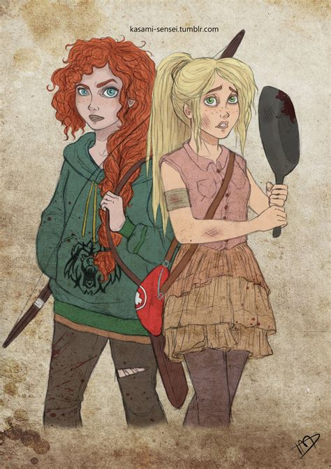 film disney version x the walking disney pixar merida and rapunzel 2 by kasami