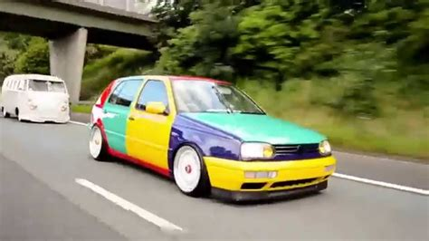 volkswagen harlequin vw mk3 golf harlequin rolling to detailed summer bash