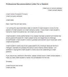 recommendation letter for a student template just letter