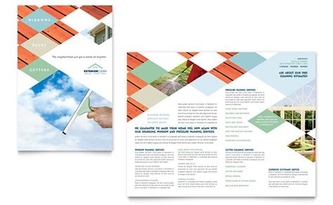 cleaning brochure templates free window cleaning pressure washing brochure template design